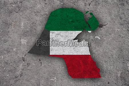 map and flag of kuwait on