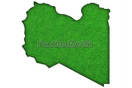map of libya on green felt