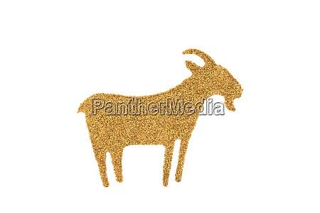 golden goat made of glitter