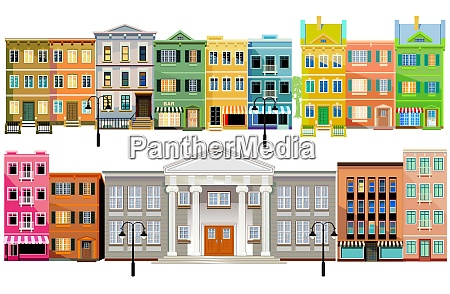 facade of old buildings illustration