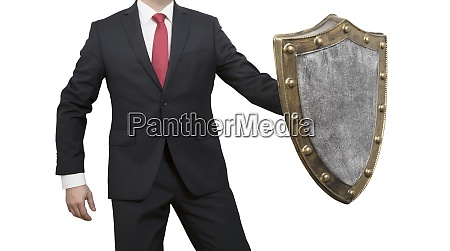 businessman with shield isolated on white