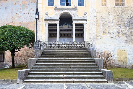 mysterious old chapel with stair perspective