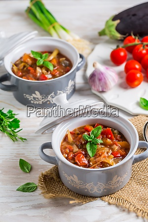 delicious italian vegetable minestrone soup with