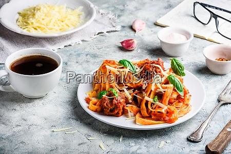 pasta with mini meatballs