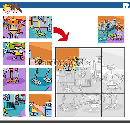 jigsaw puzzle game with comic robot