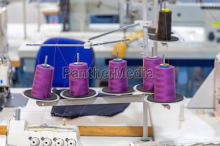 purple yarn spools