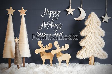 christmas tree moose moon stars snow
