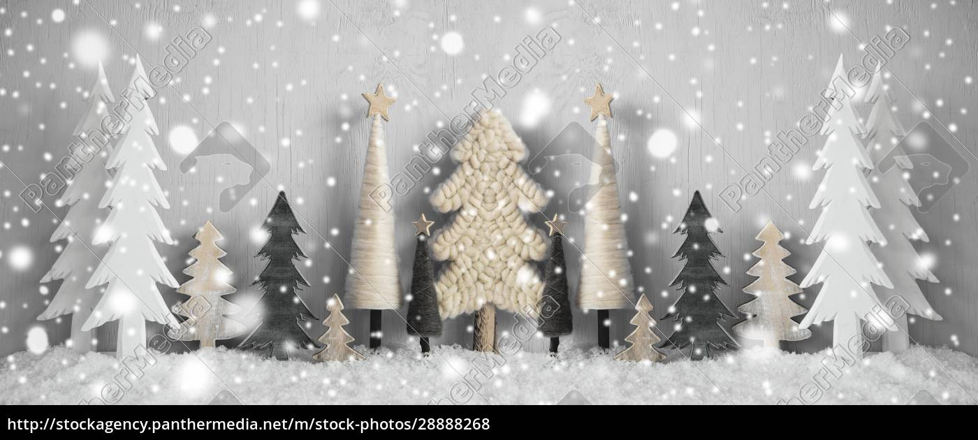 banner, , christmas, trees, , snow, , yellow, background, - 28888268