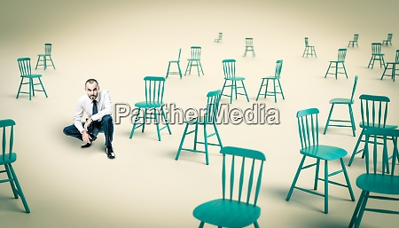 businessman in a crouched position