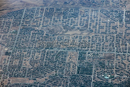 aerial city view with houses and