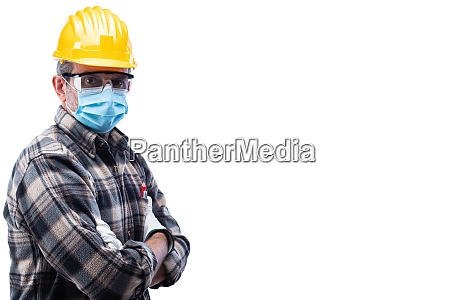 carpenter at work protects the face