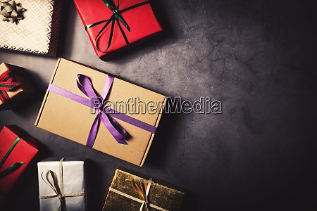 variety of wrapped gift boxes on
