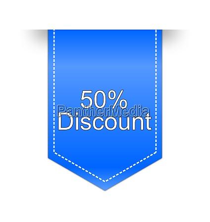 blue 50 discount label illustration