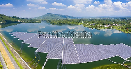 aerial view of floating solar panels