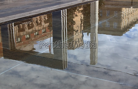 italian modernist style palace reflected in