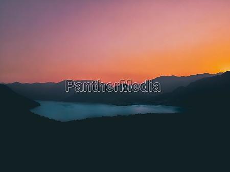 amazing sunset on iseo lake