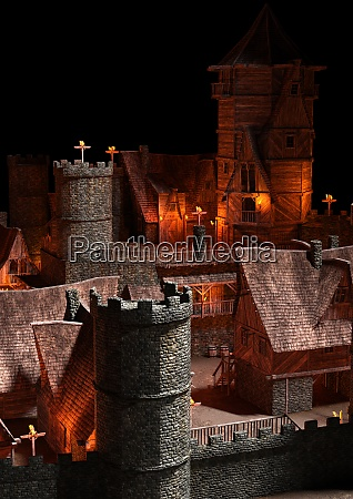 3d rendering medieval fortewss village
