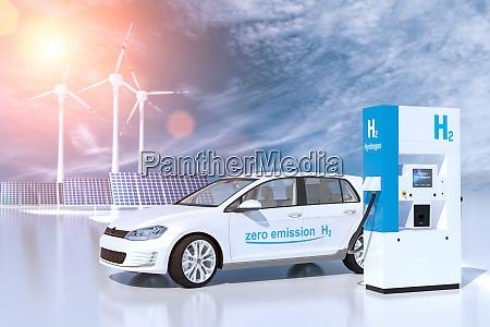 hydrogen logo on gas station h2