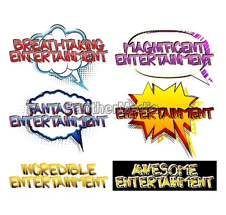 entertainment comic book style cartoon words