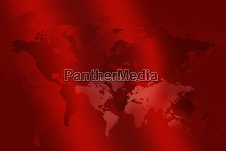world map in red color on
