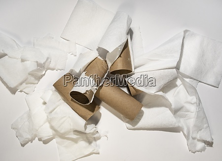 messy toilet paper rolls