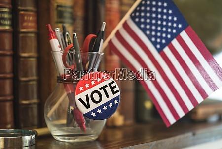 american flag vote pin in pencil