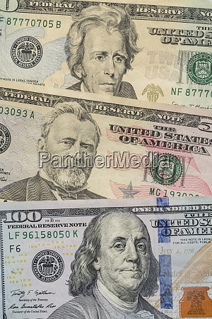 close up of us paper currency