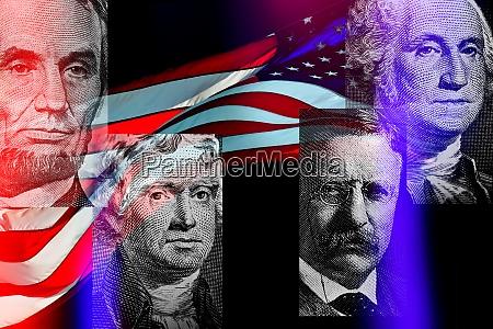 portraits of american presidents against american