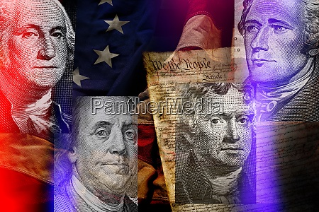 american presidents against american flag