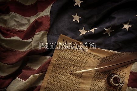 constitution quill and ink lying on