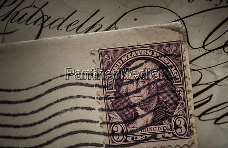 postage stamp with george washington