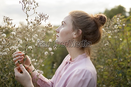 russia omsk young woman in meadow