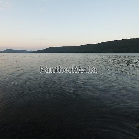usa otsego lake at dusk