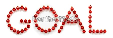 red christmas ball ornament building word