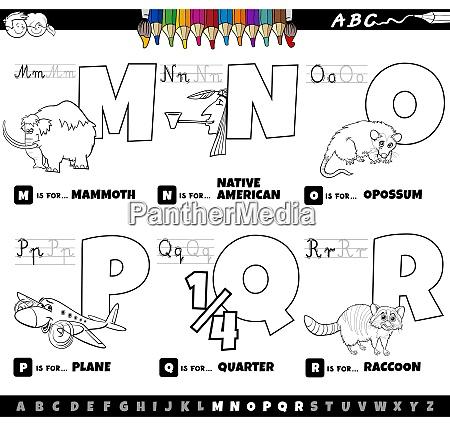 educational cartoon alphabet letters set coloring