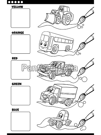 basic colors with cartoon vehicles coloring