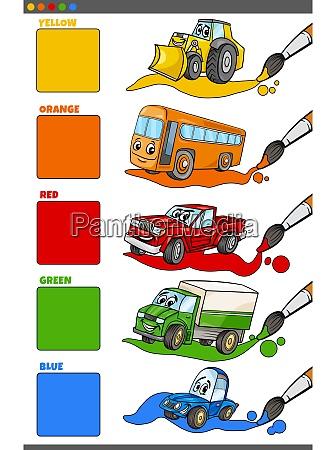 basic colors set with cartoon vehicle