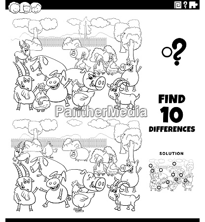 differences educational game with farm animals