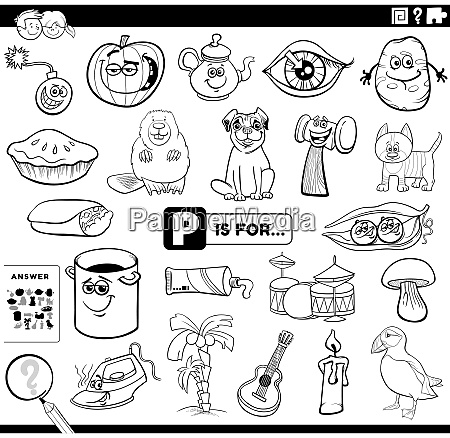 letter p educational task coloring book