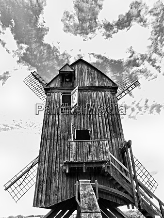 the reconstructed wooden post mill