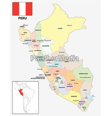 administrative divisions vector map of peru