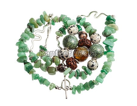 tangled necklace from green aventurine isolated