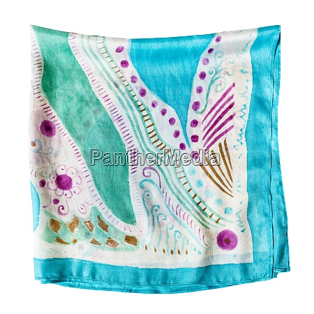 folded multicolored silk scarf isolated