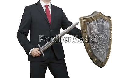 businessman with sword and shield isolated