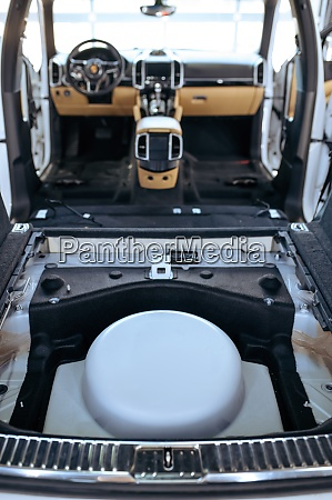car interior with removed seats rear