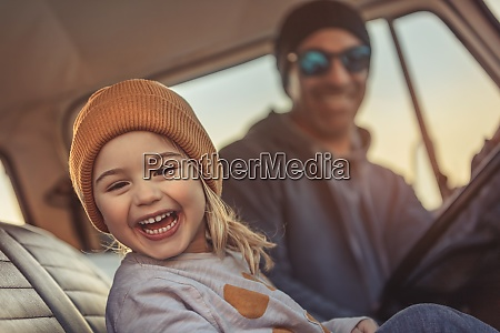 happy father and son travelling