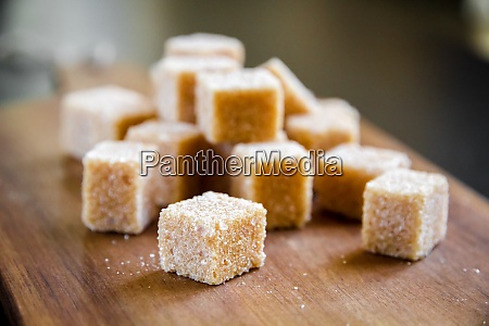 brown cane sugar cubes on a