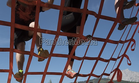 overcoming an obstacle on a parkour