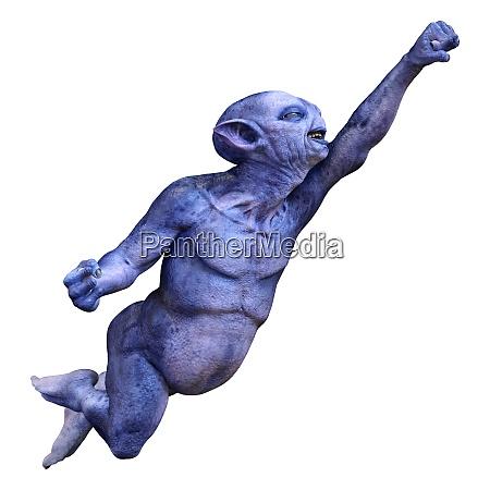 3d rendering blue alien on white