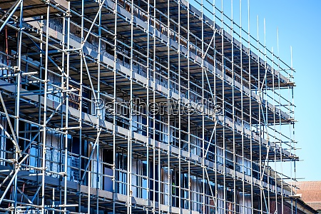 scaffolding on construction site building site